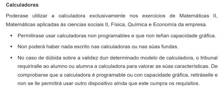 Calculadoras permitidas en selectividad Galicia 2021