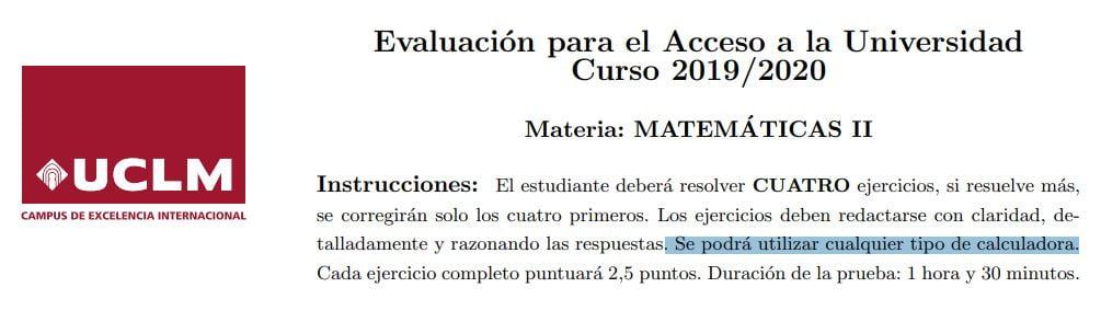 Calculadoras permitidas EvAU Castilla-La Mancha